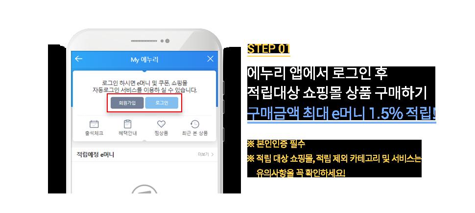 STEP1. 에누리 앱에서 로그인 후 적립대상 쇼핑몰 이동하기
